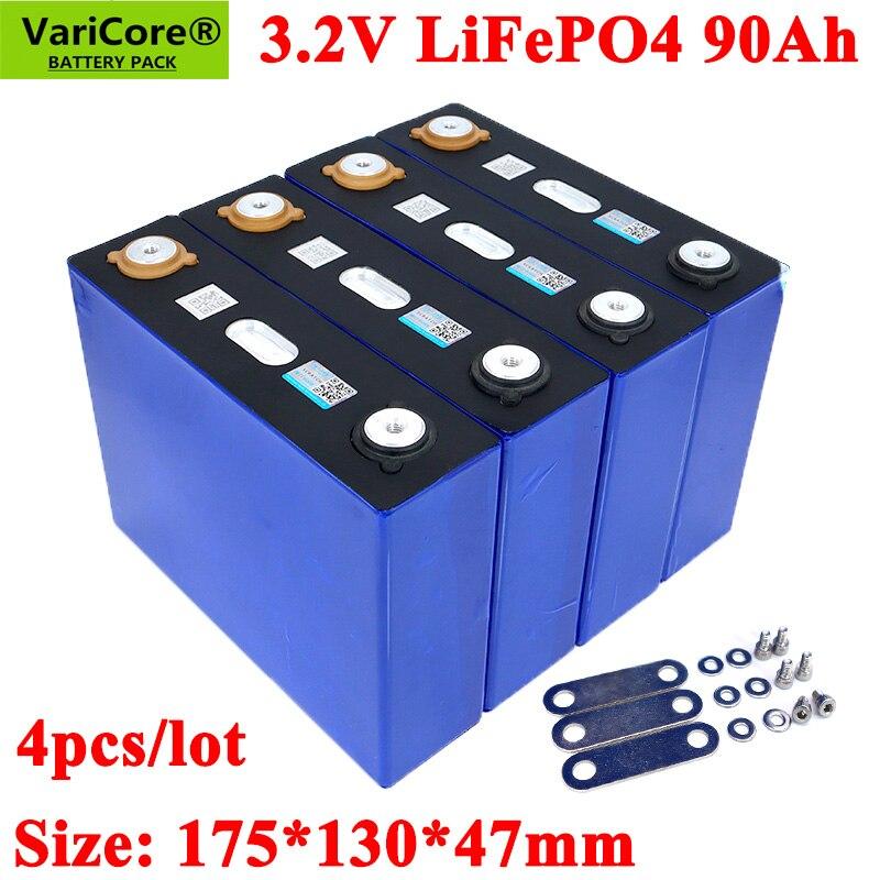 4PCS VariCore 3.2V 90Ah LiFePO4 battery can for 12V batteries Lithium-iron phospha 90000mAh Can make Boat batteriesCar batteriy